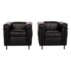 Cassina Le Corbusier LC 2 Leather Armchair Set Black Set