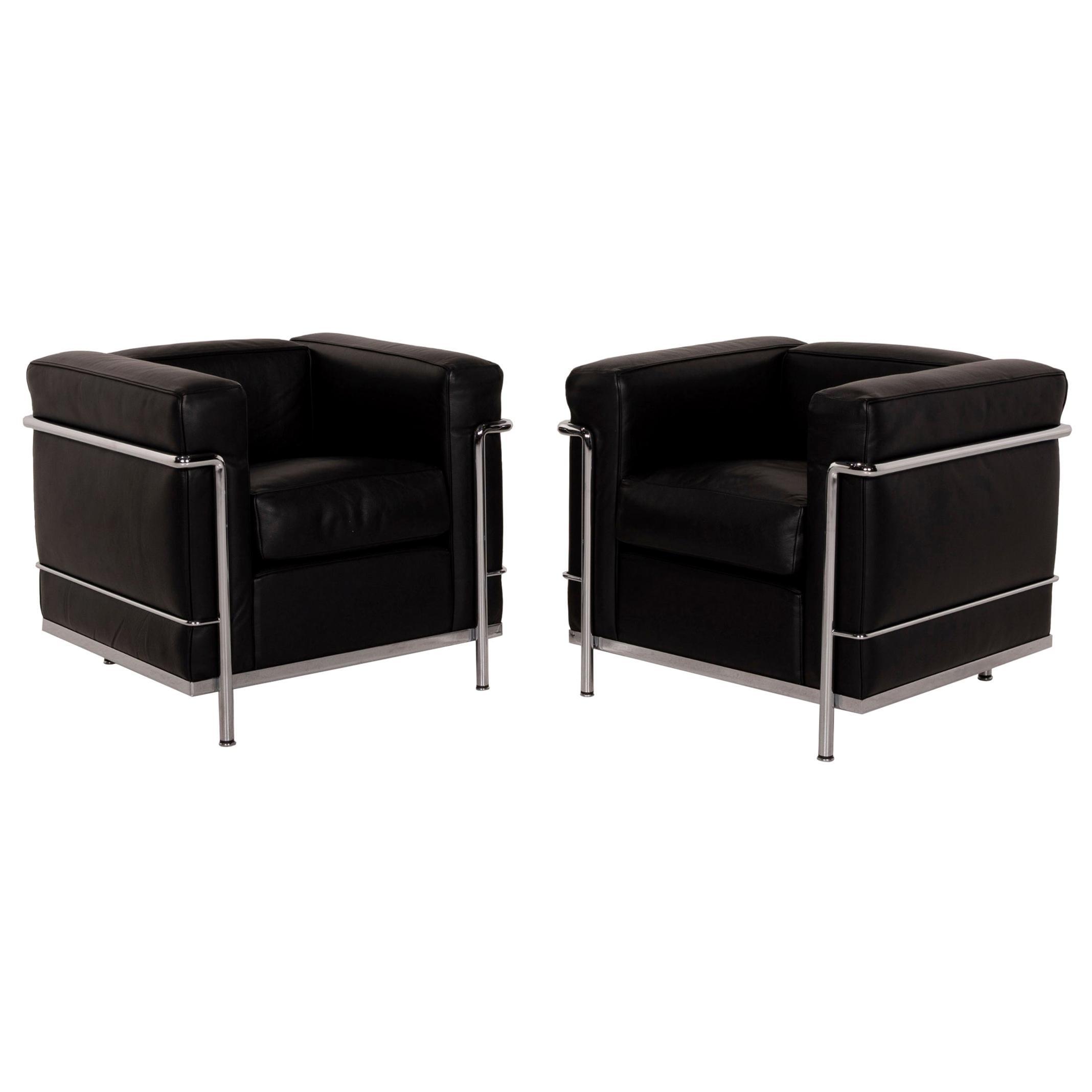 Cassina Le Corbusier LC 2 Leather Armchair Set Black Set