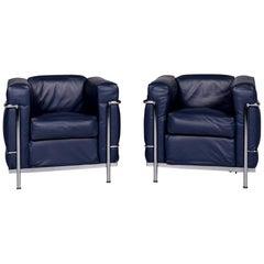 Cassina Le Corbusier LC 2 Leather Armchair Set Blue 2x Armchair