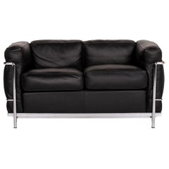 Cassina Le Corbusier LC 2 Leather Sofa Black Two-Seat Couch