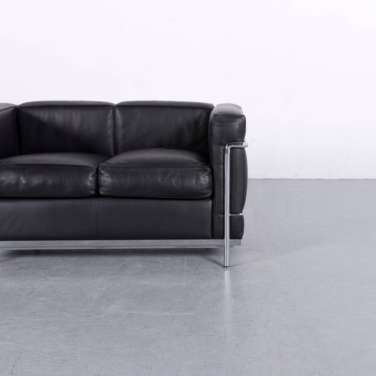 Cassina Le Corbusier LC 2 Leather Sofa Black Two-Seat For Sale at ...