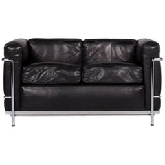 Cassina Le Corbusier LC 2 Leather Sofa Black Two-Seater Le Corbusier Couch