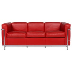 Cassina Le Corbusier LC 2 Leather Sofa Red Three-Seat Couch