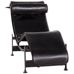 Cassina Le Corbusier LC 4 Designer Leather Lounger Black Real Leather Armchair
