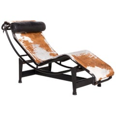 Cassina Le Corbusier LC 4 Designer Leather Lounger Brown Genuine Leather