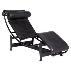 Cassina Le Corbusier LC 4 Leather Lounger Black Relax Function