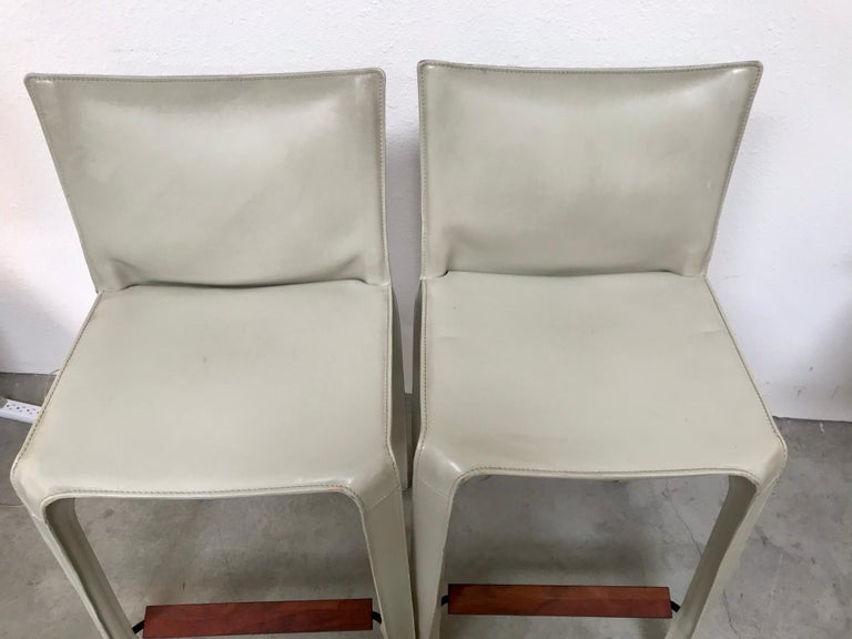 Cassina Leather Bar Stools by Mario Bellini 3