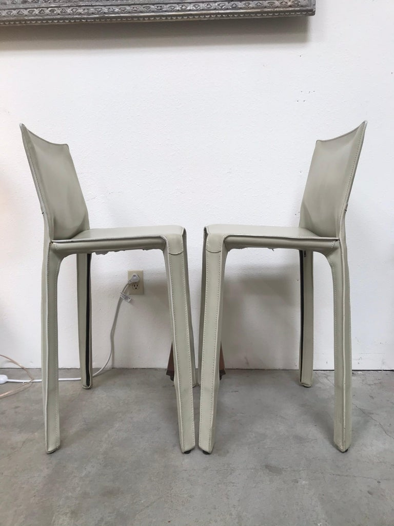 Cassina Leather Bar Stools by Mario Bellini 4