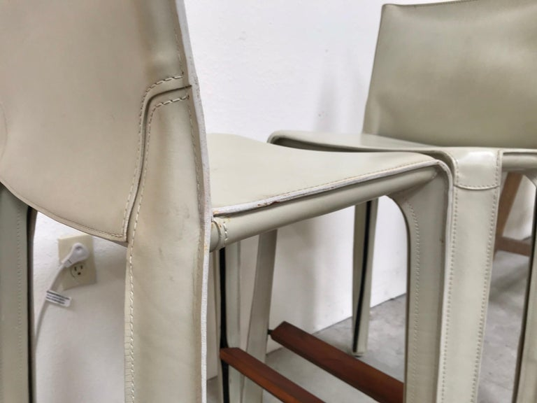 Cassina Leather Bar Stools by Mario Bellini 5
