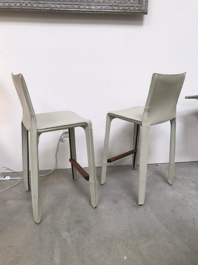Cassina Leather Bar Stools by Mario Bellini 6
