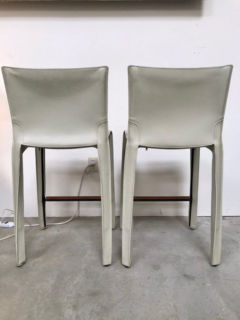 Cassina Leather Bar Stools by Mario Bellini 7