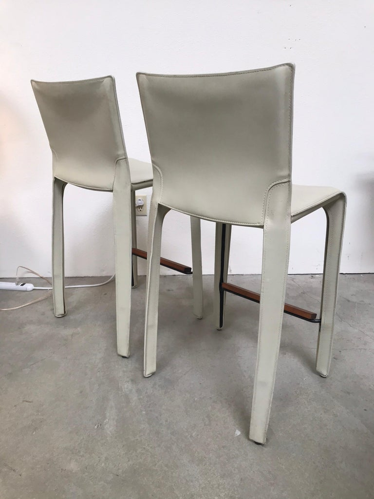 Cassina Leather Bar Stools by Mario Bellini 8