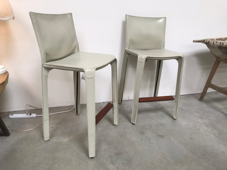 Contemporary Cassina Leather Bar Stools by Mario Bellini