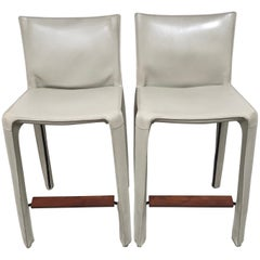 Cassina Leather Bar Stools by Mario Bellini