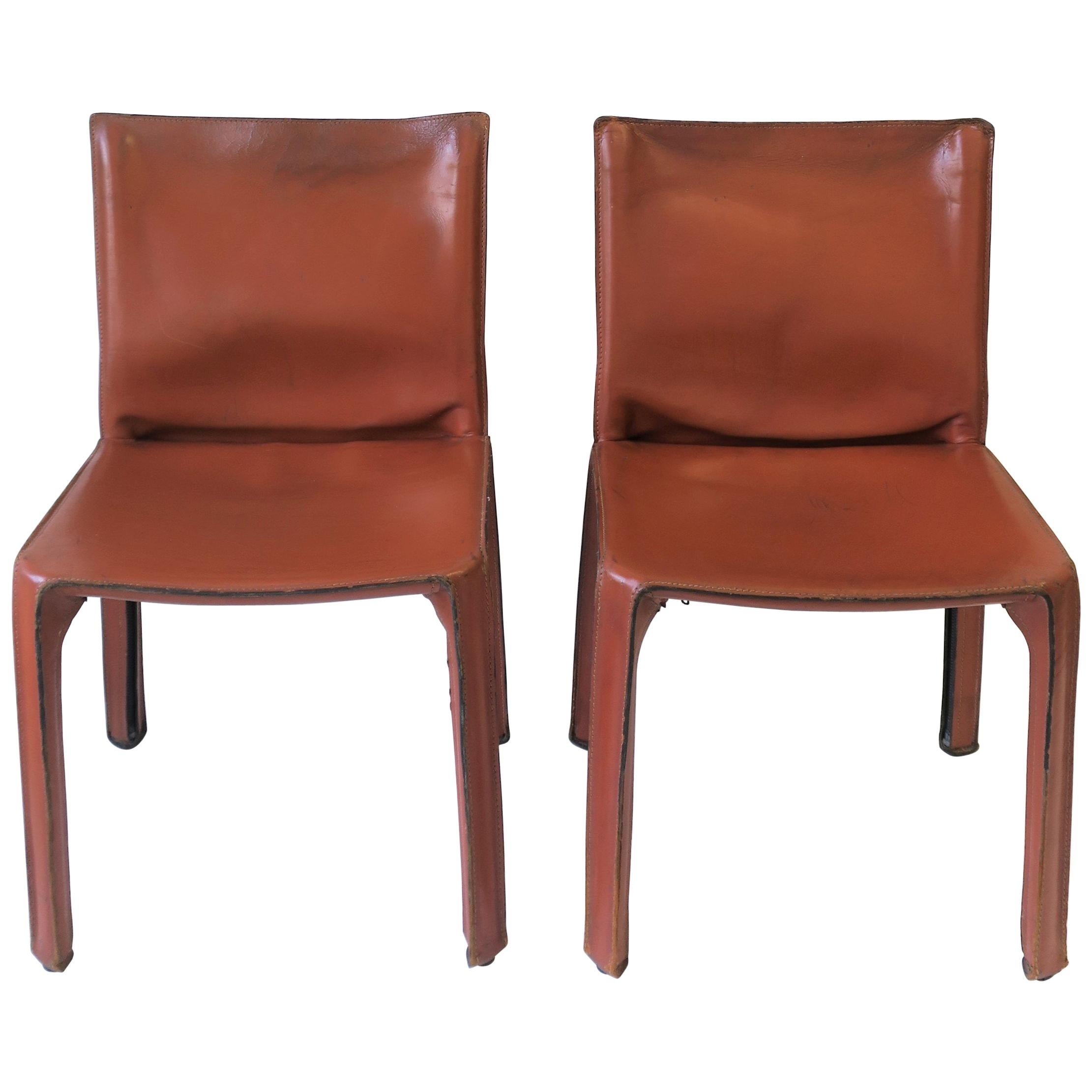 Merveilleux Cassina Leather Cab Side Chairs For Sale