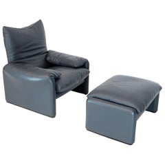 Cassina Leather Lounge and Matching Ottoman Maralunga Vico Magistretti