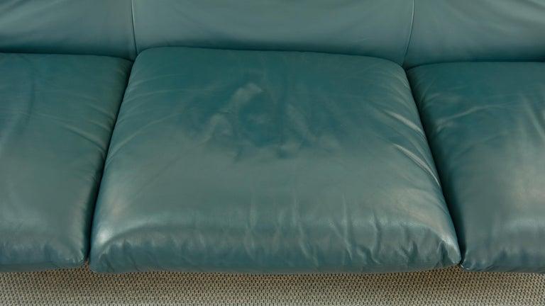 Cassina Maralunga 3-Seat Sofa by Vico Magistretti in Petrol-Darkgreen Leather For Sale 7