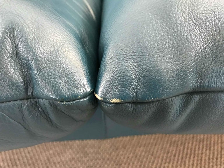 Cassina Maralunga 3-Seat Sofa by Vico Magistretti in Petrol-Darkgreen Leather For Sale 12