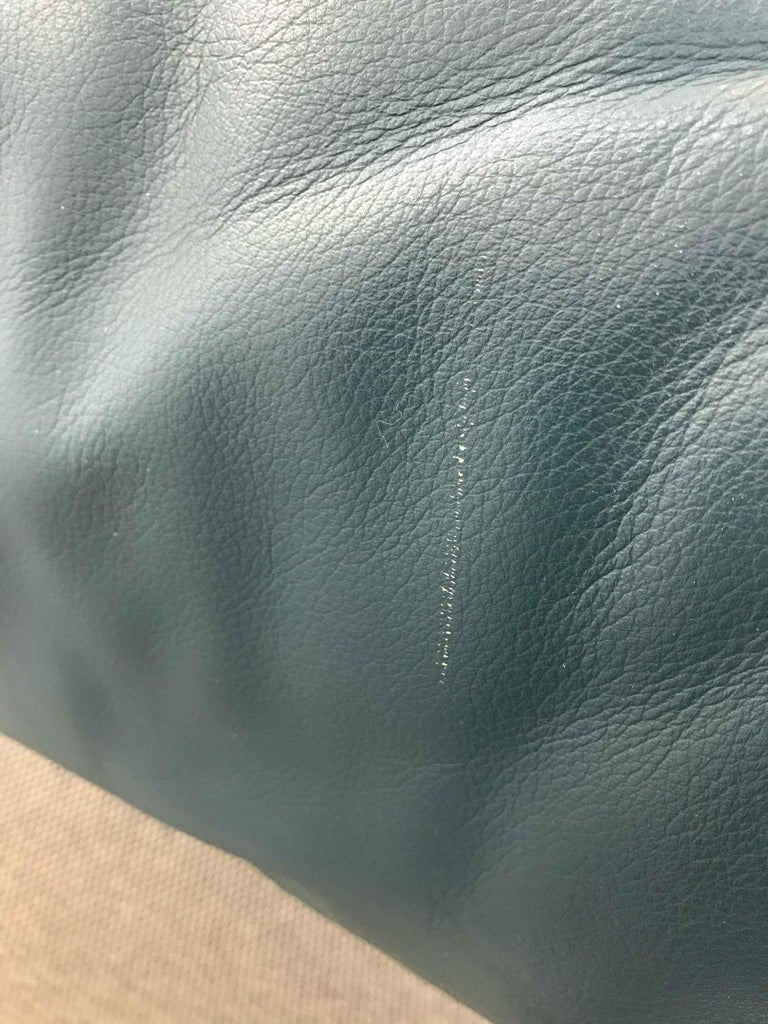 Cassina Maralunga 3-Seat Sofa by Vico Magistretti in Petrol-Darkgreen Leather For Sale 13