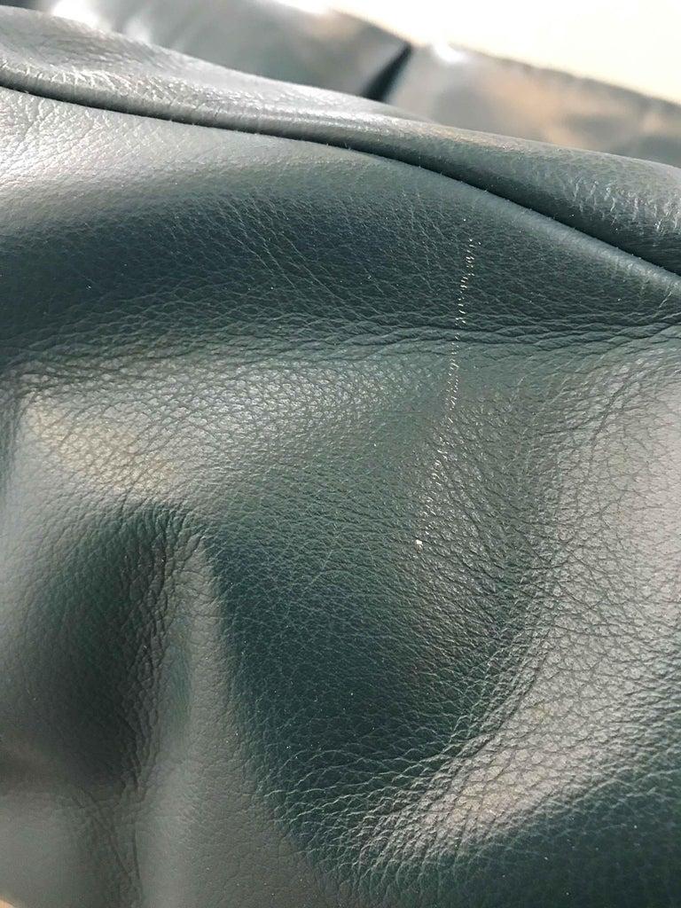 Cassina Maralunga 3-Seat Sofa by Vico Magistretti in Petrol-Darkgreen Leather For Sale 14
