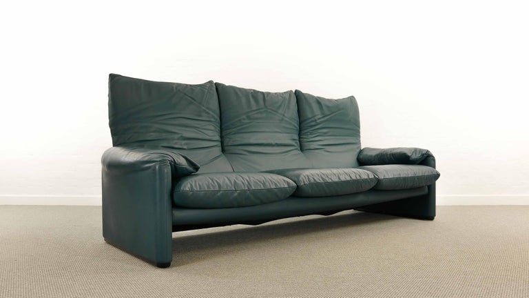 Italian Cassina Maralunga 3-Seat Sofa by Vico Magistretti in Petrol-Darkgreen Leather For Sale