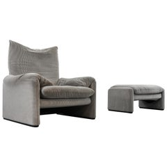 Cassina Maralunga Chair and Ottoman /Stool in Grey Striped Fabrics