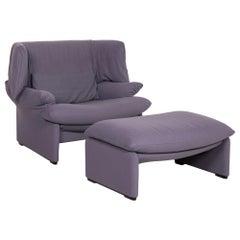 Cassina Maralunga Fabric Armchair Purple Incl. Ottoman