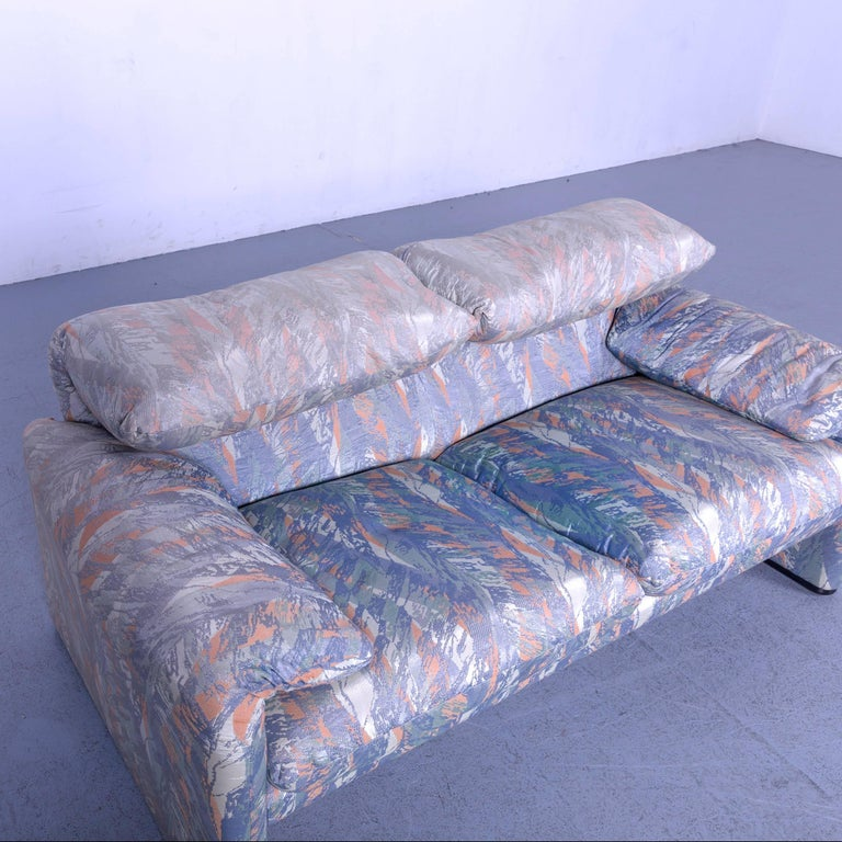 Cassina Maralunga Fabric Sofa Blue Grey Two-Seat Pattern 5