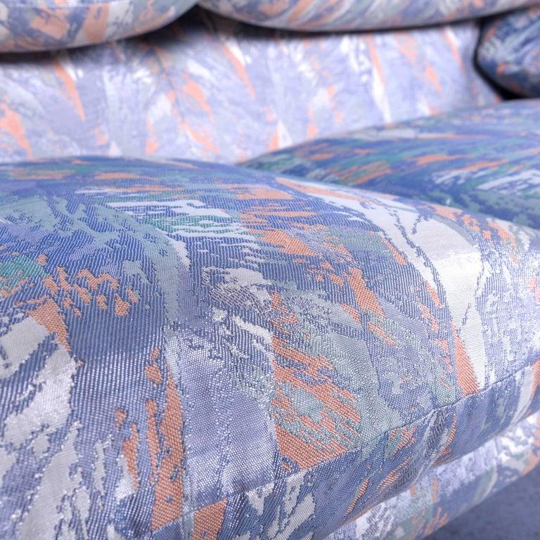 Cassina Maralunga Fabric Sofa Blue Grey Two-Seat Pattern 6