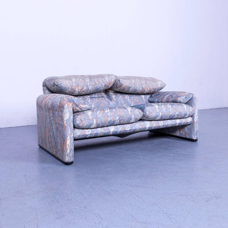 Italian Cassina Maralunga Fabric Sofa Blue Grey Two-Seat Pattern