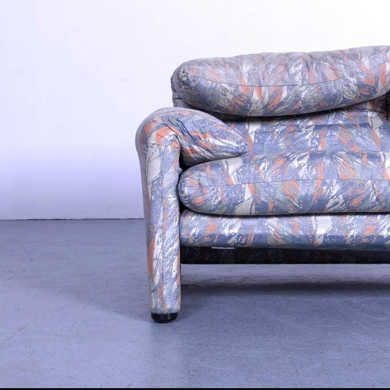 Cassina Maralunga Fabric Sofa Blue Grey Two-Seat Pattern In Fair Condition In Cologne, DE