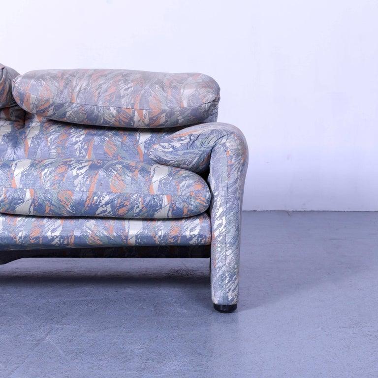 Contemporary Cassina Maralunga Fabric Sofa Blue Grey Two-Seat Pattern