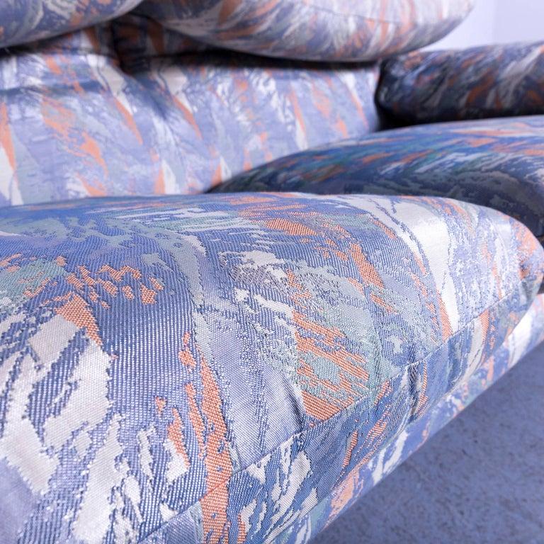 Cassina Maralunga Fabric Sofa Blue Grey Two-Seat Pattern 1