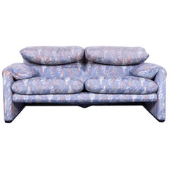 Cassina Maralunga Fabric Sofa Blue Grey Two-Seat Pattern
