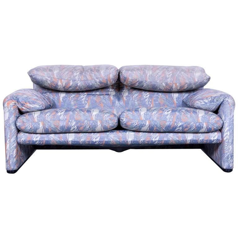 Cassina Maralunga Fabric Sofa Blue Grey Two-Seat Pattern