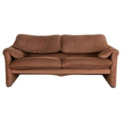 Cassina Maralunga Fabric Sofa Brown Two-Seater Function Couch