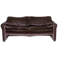 Cassina Maralunga Fabric Sofa Purple Aubergine Three-Seat Function Couch