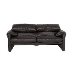 Cassina Maralunga Leather Sofa Black Two-Seat Function Couch