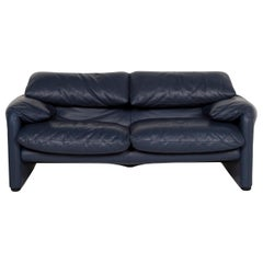 Cassina Maralunga Leather Sofa Blue Two-Seat Function Couch