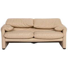 Cassina Maralunga Leather Sofa Cream Two-Seat