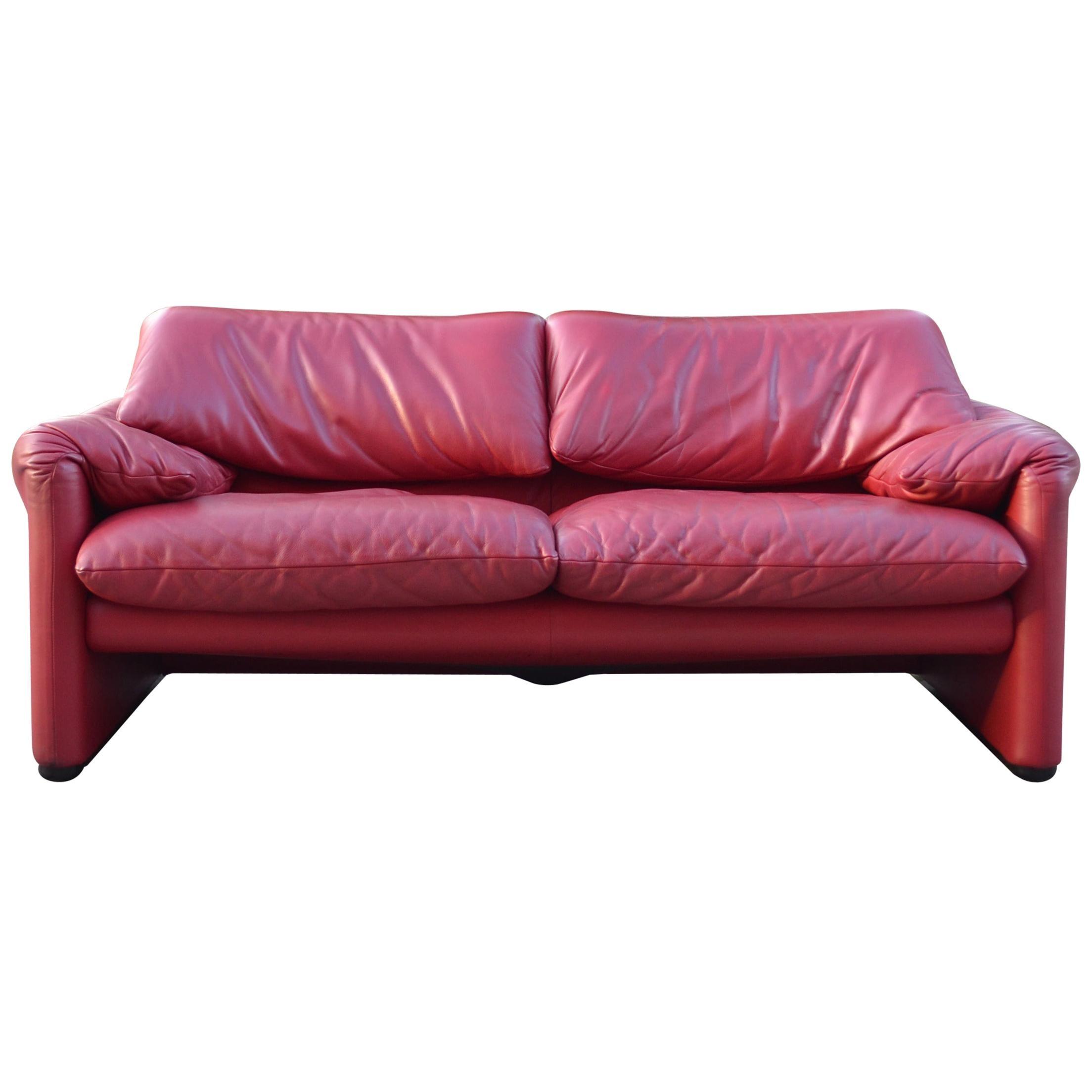 Cassina Maralunga Red Berry Leather Sofa by Vico Magistretti