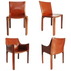 Cassina Mario Bellini Leather Cab Chairs, Set of 4