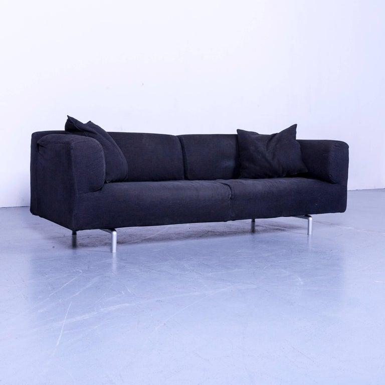 Cassina Met Fabric Modern Black Sofa, Three-Seater Couch