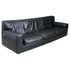 Cassina Minimal Black Leather Italian Sofa, 1970s