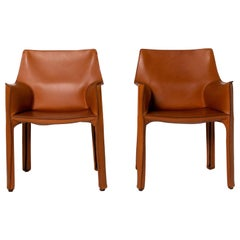 Cassina Model 413 Leather Chair Set Cognac