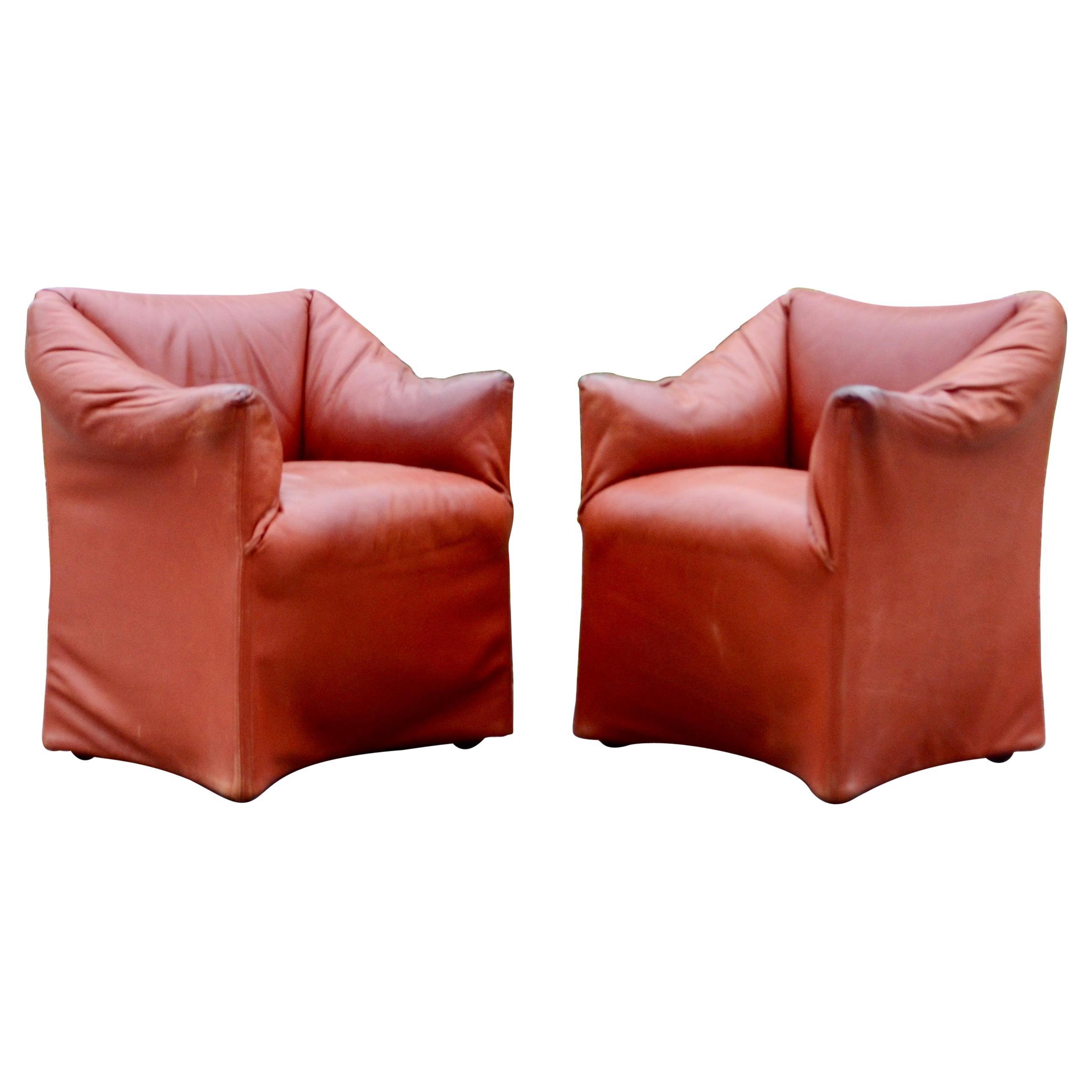 Cassina Model Tentazione Mario Bellini Small Armchair Chair Oxred Leather