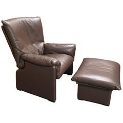 "Cassina ""Palmaria"" Leather Chair and Ottoman"