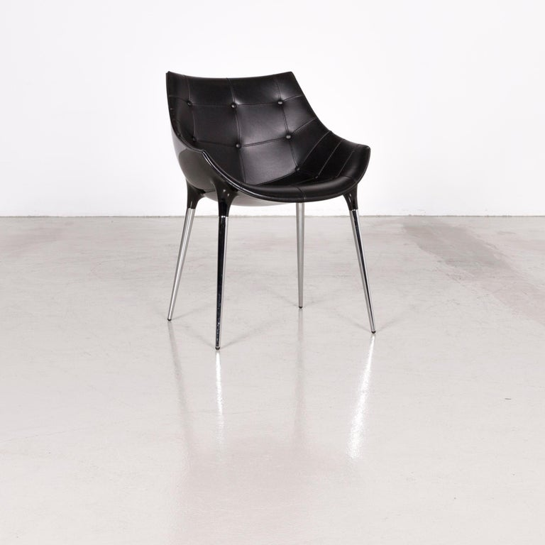 Cassinapassion leather armchair set black by Philippe Starck.