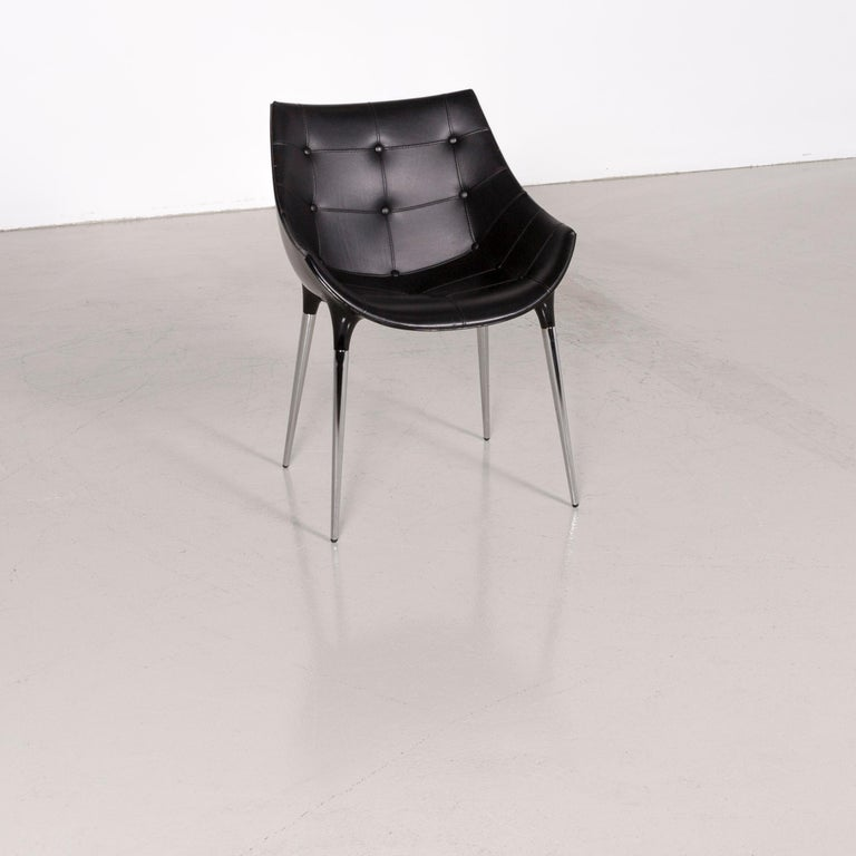 Bauhaus Cassina Passion Leather Armchair Set Black by Philippe Starck