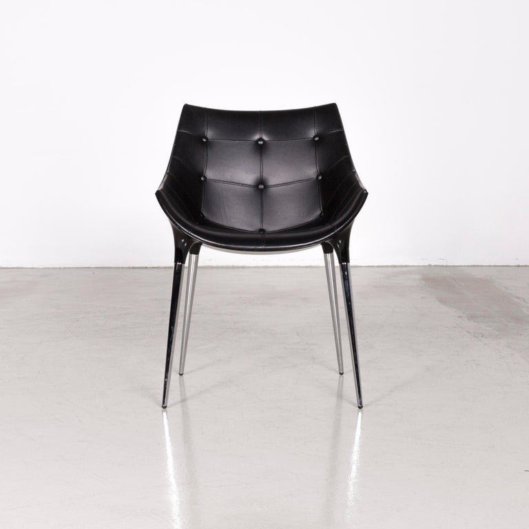 Italian Cassina Passion Leather Armchair Set Black by Philippe Starck